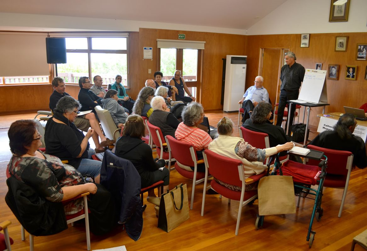 <p>Cultural Mapping discussion at the 2012 Ngāi Tahu Cultural Summit, held at Puketeraki Marae. This meeting led to the development of the Ngāi Tahu Atlas. <em>Te Rūnanga o Ngāi Tahu Collection, Ngāi Tahu Archive, 2017-0272</em></p>