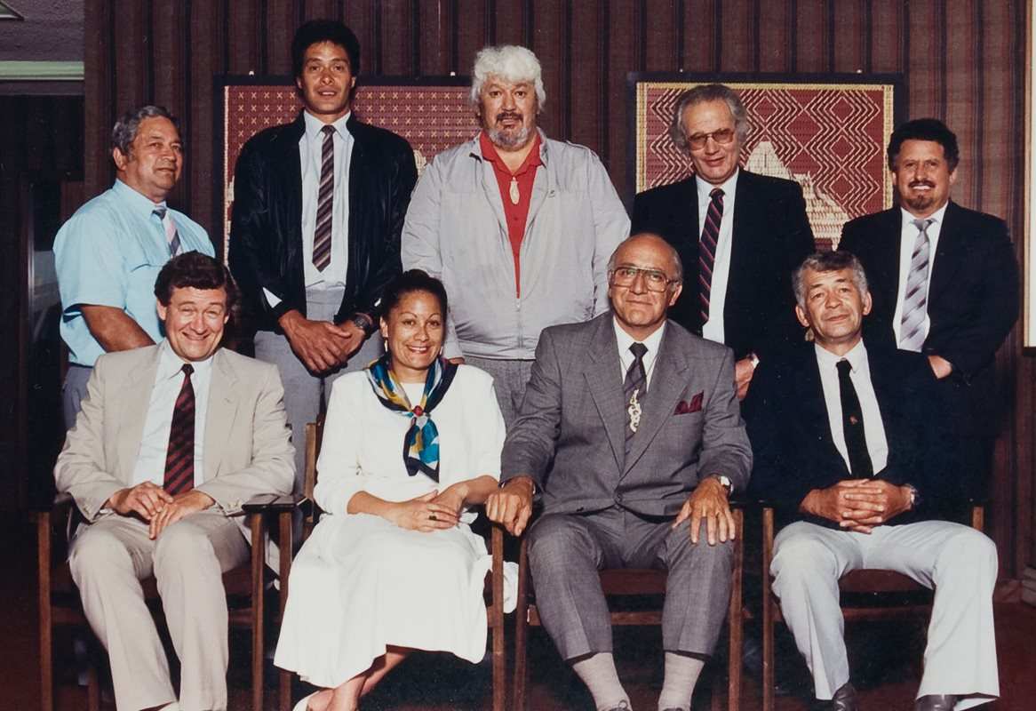 <p>The Ngaitahu Maori Trust Board that lodged the Ngāi Tahu Claim to the Waitangi Tribunal in 1986. Back row (left to right); Monty Daniels, David Higgins, Bill Solomon, Kuao Langsbury, James Mason Russell. Front row (left to right); Sid Ashton (Secretary), Maria Tini, Tipene O'Regan (Chairman), Rakiihia Tau. <em>Ngaitahu Maori Trust Board Collection, Ngāi Tahu Archive, 2017-0176</em></p>