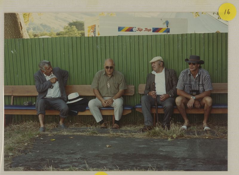 <p>David Higgins (sitting on far right ) at Waikawa Marae in Picton, during the visit of Queen Elizabeth II, 1990. From left to right: Rakiihia Tau, Tipene O'Regan, Henare Robinson and David Higgins. <em>Ngaitahu Maori Trust Board Collection, Ngāi Tahu Archive, 2016-305</em></p>