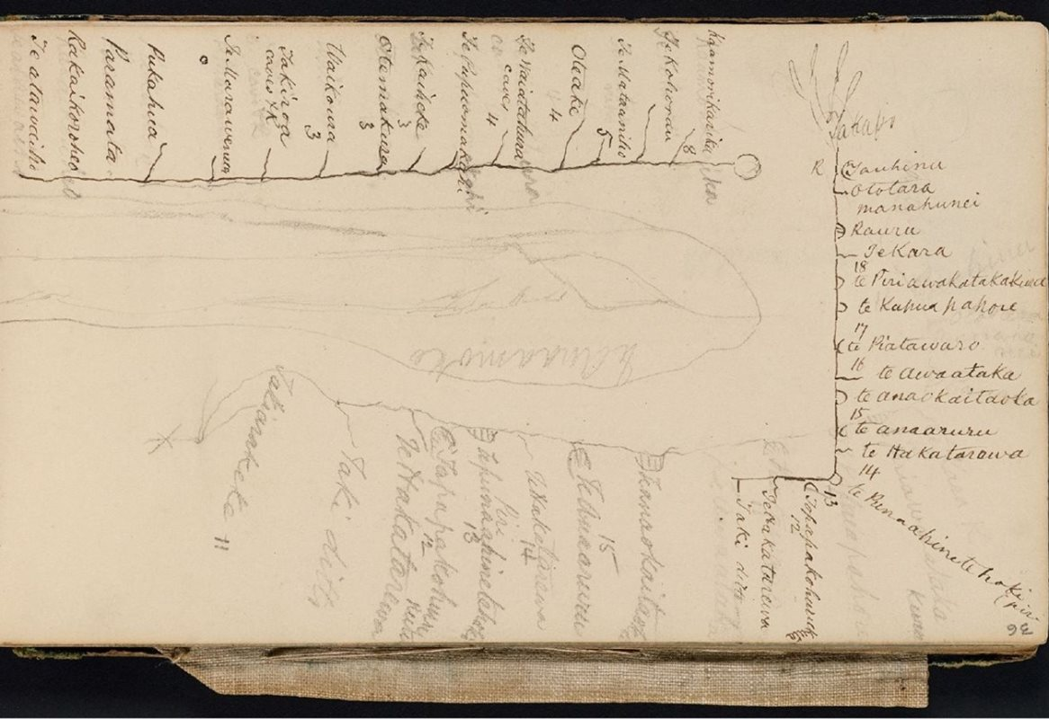 <p>Map drawn by Te Wharekōrari showing the Māori pace names of the Waitaki River. <em>Mantell, Walter: Sketchbook no. 2, 1848, E333-036. Alexander Turnbull Library</em></p>
