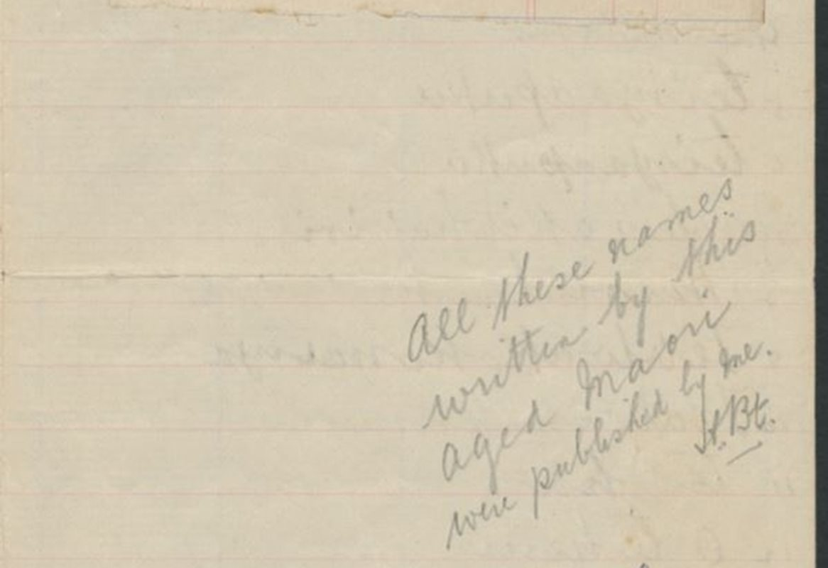 <p>Notebook of Māori place names along the north bank of the Waitaki River given to Herries Beattie by Tieke Pukurākau in 1915. MS-582/B/10.<em> Hocken Library, University of Otago</em></p>